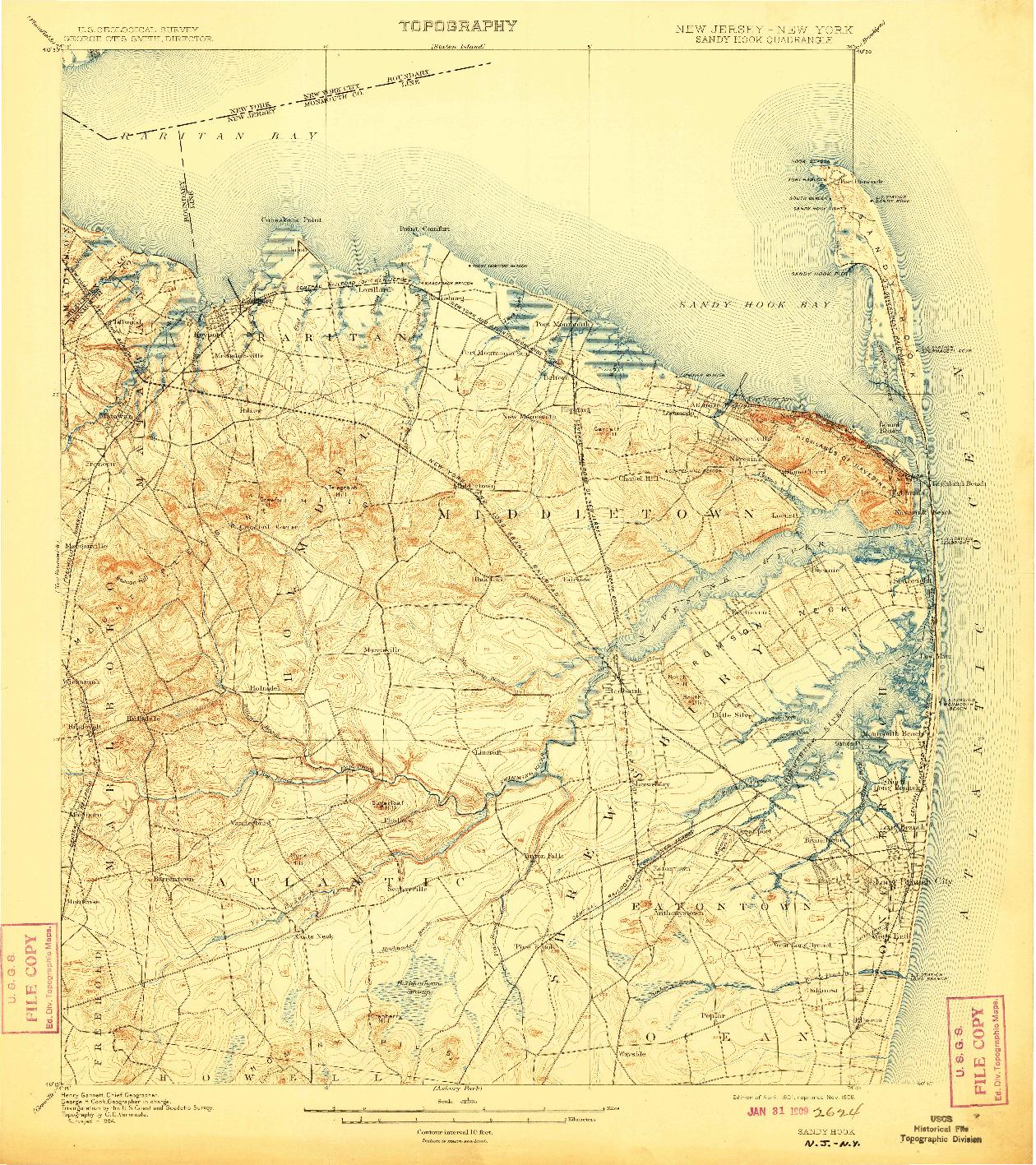USGS 1:62500-SCALE QUADRANGLE FOR SANDY HOOK, NJ 1901