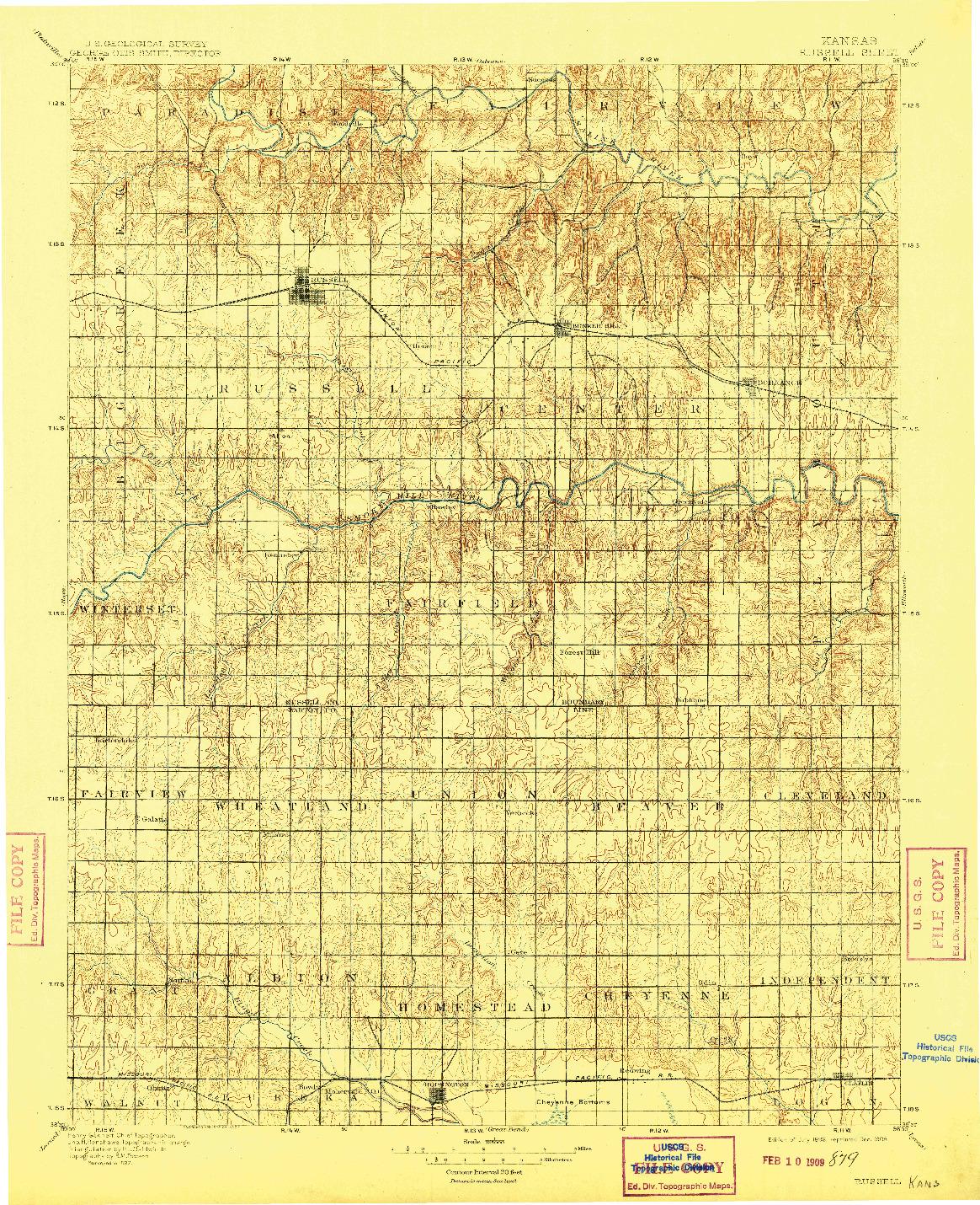 USGS 1:125000-SCALE QUADRANGLE FOR RUSSELL, KS 1896