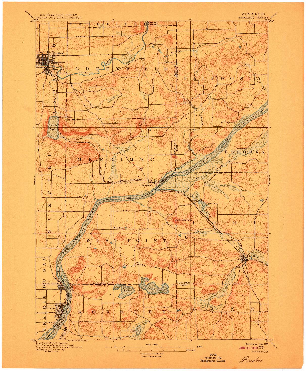 USGS 1:62500-SCALE QUADRANGLE FOR BARABOO, WI 1908