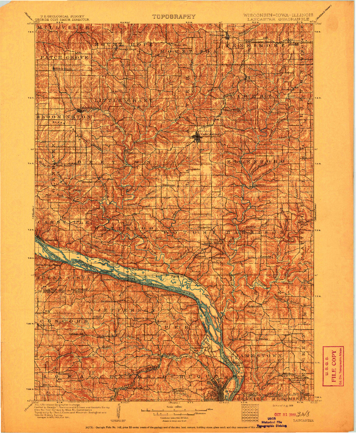 USGS 1:125000-SCALE QUADRANGLE FOR LANCASTER, WI 1908