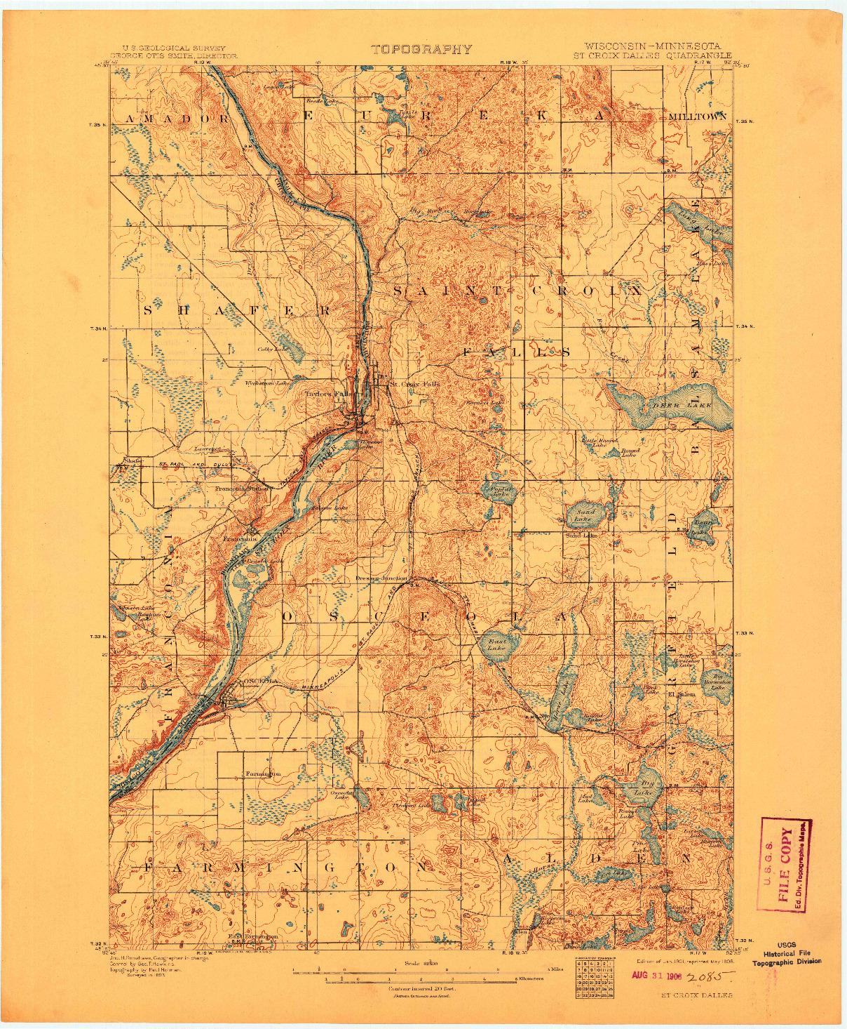 USGS 1:62500-SCALE QUADRANGLE FOR ST CROIX DALLES, WI 1901