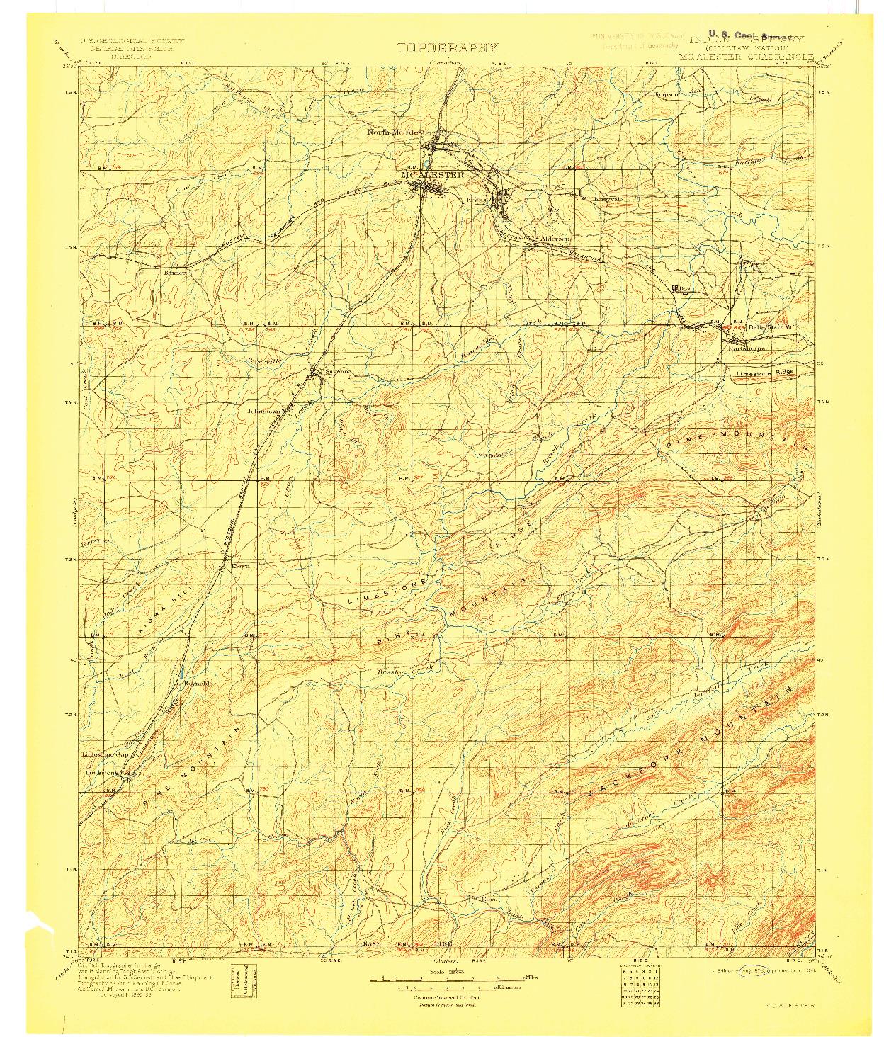 USGS 1:125000-SCALE QUADRANGLE FOR MC ALESTER, OK 1898