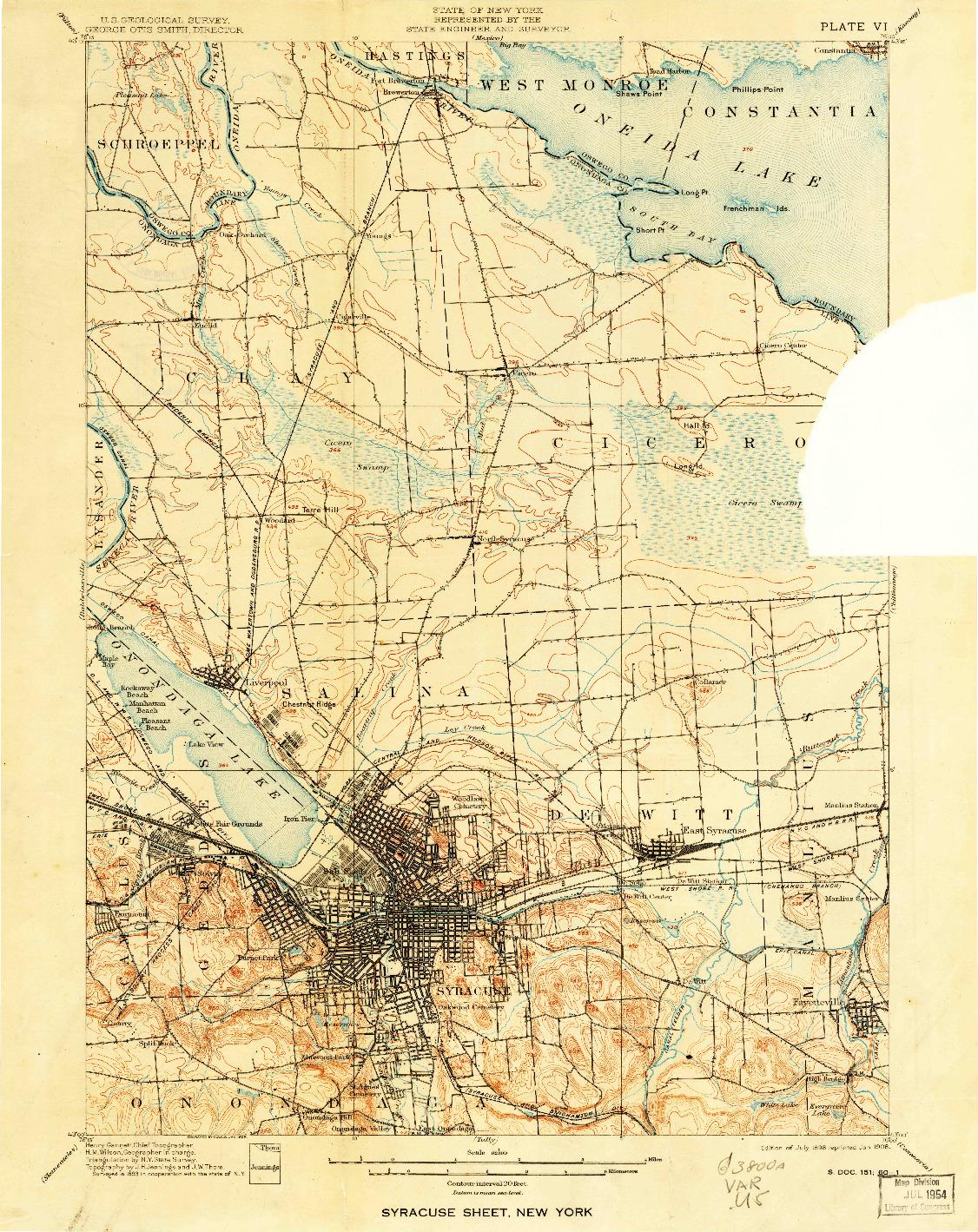 USGS 1:62500-SCALE QUADRANGLE FOR SYRACUSE, NY 1898