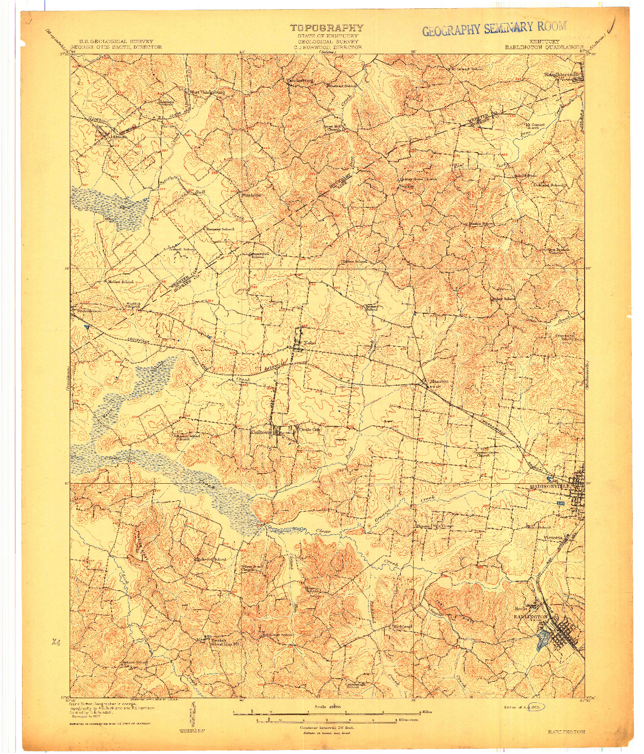 USGS 1:62500-SCALE QUADRANGLE FOR EARLINGTON, KY 1909