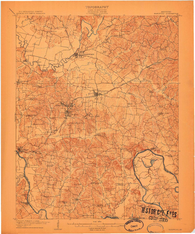 USGS 1:62500-SCALE QUADRANGLE FOR HARTFORD, KY 1909