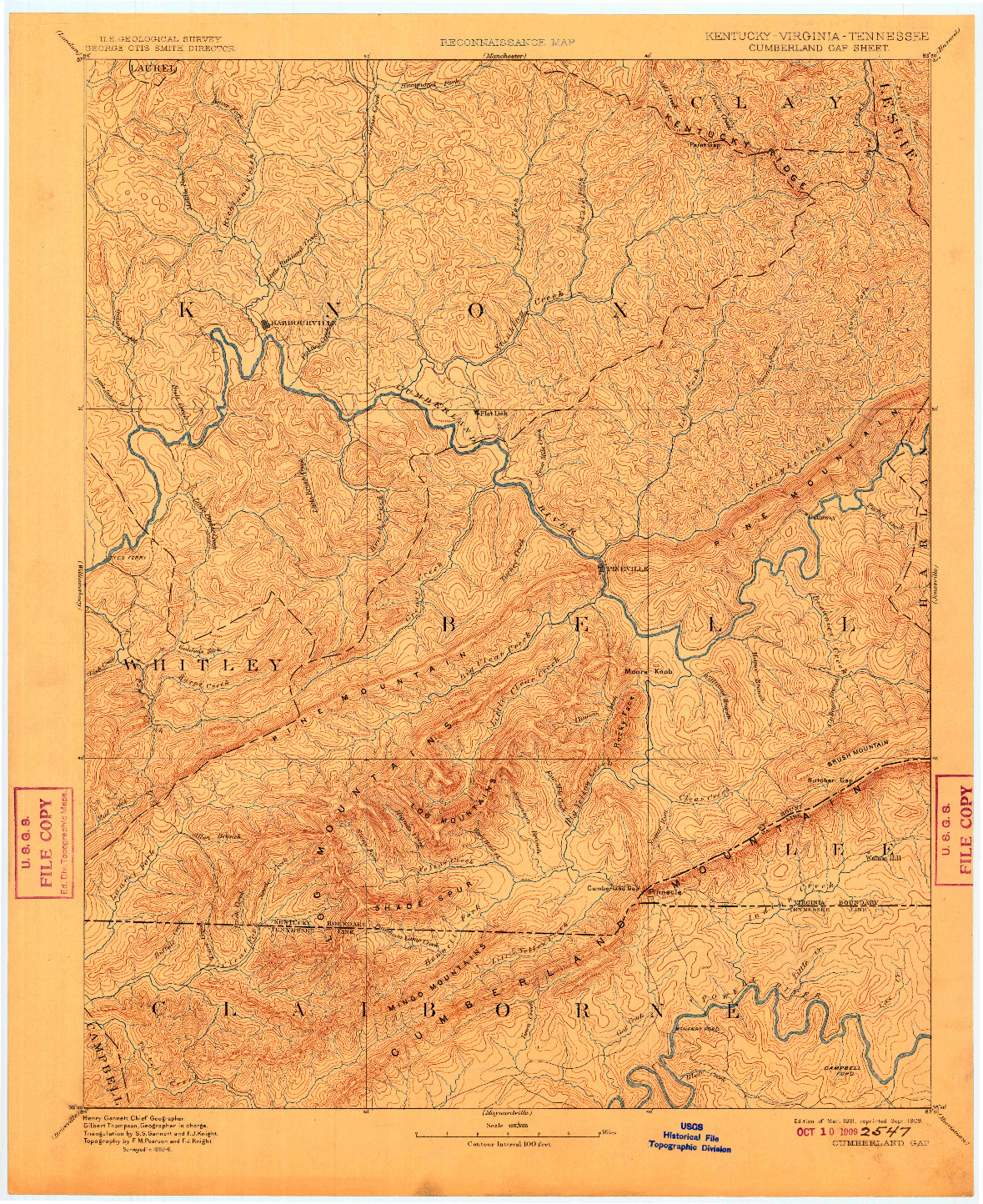 USGS 1:125000-SCALE QUADRANGLE FOR CUMBERLAND GAP, KY 1891