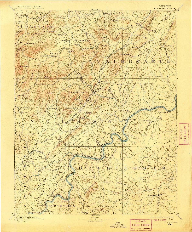 USGS 1:125000-SCALE QUADRANGLE FOR BUCKINGHAM, VA 1892