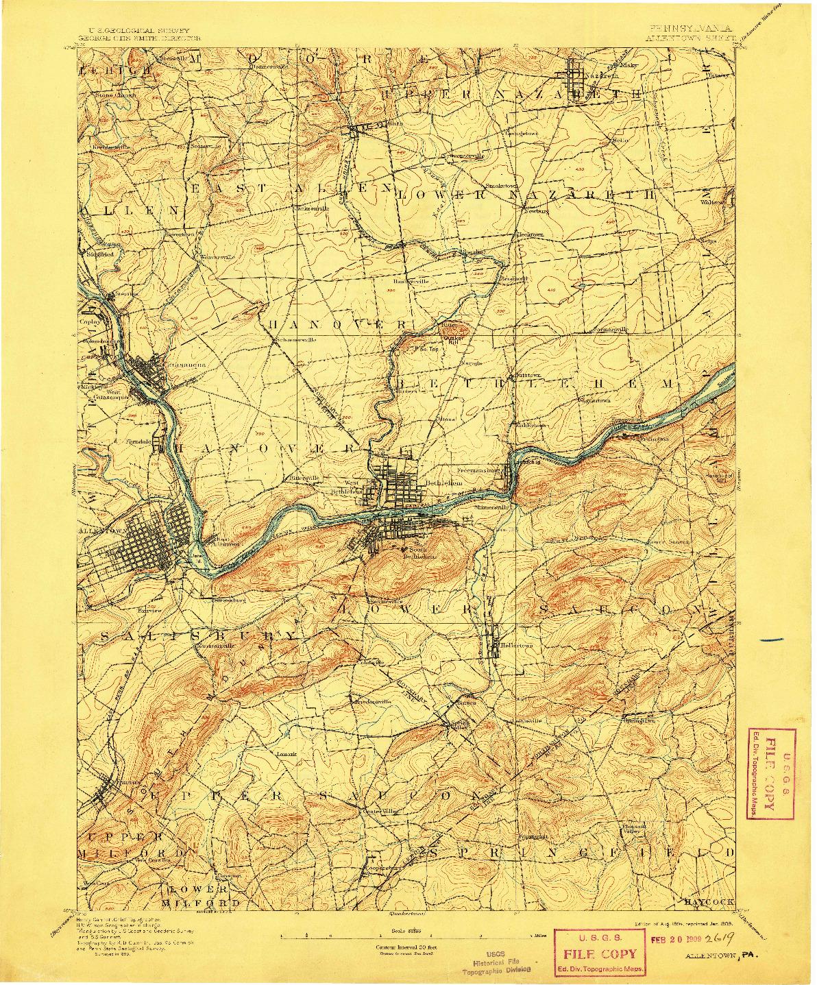 USGS 1:62500-SCALE QUADRANGLE FOR ALLENTOWN, PA 1894