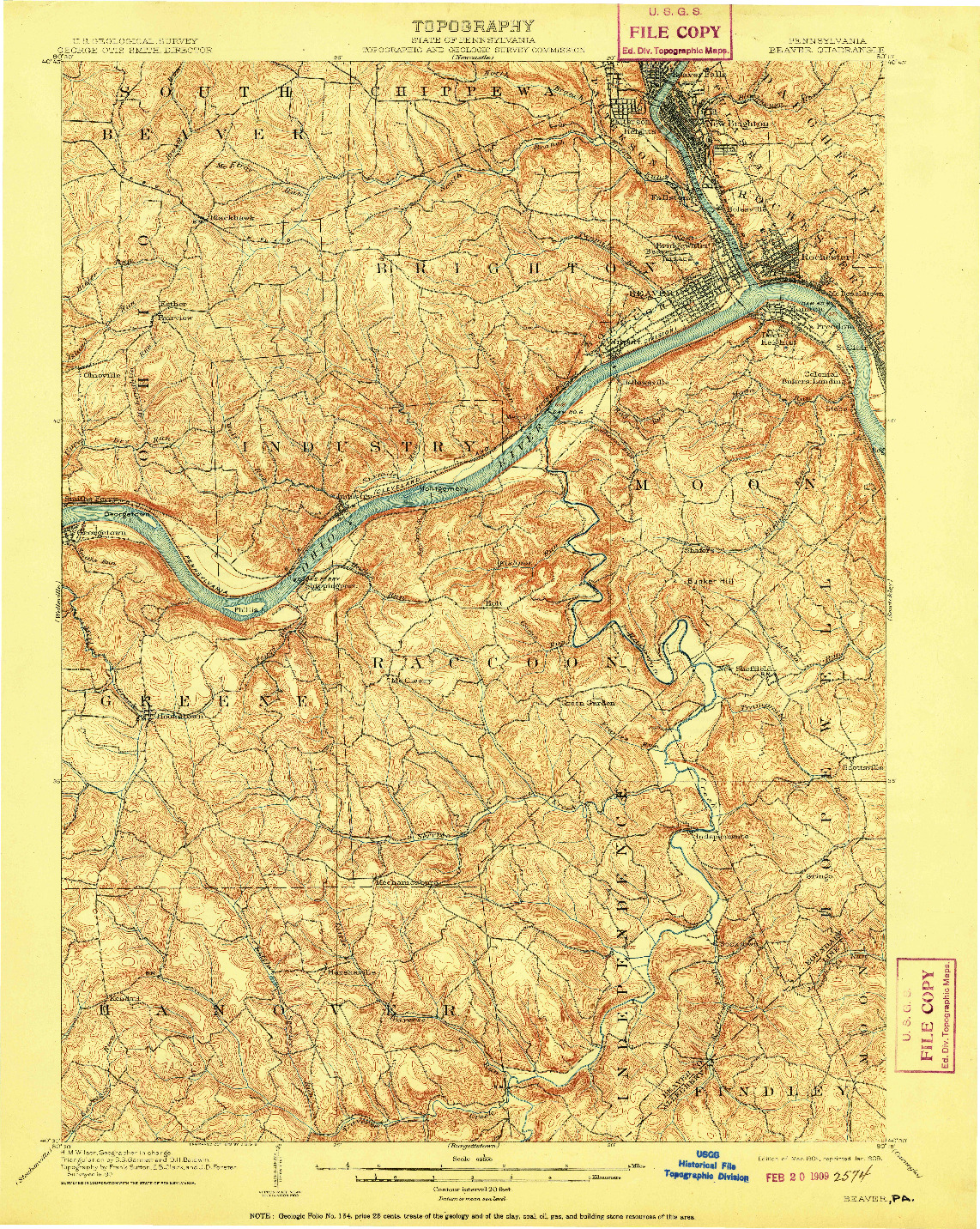 USGS 1:62500-SCALE QUADRANGLE FOR BEAVER, PA 1904