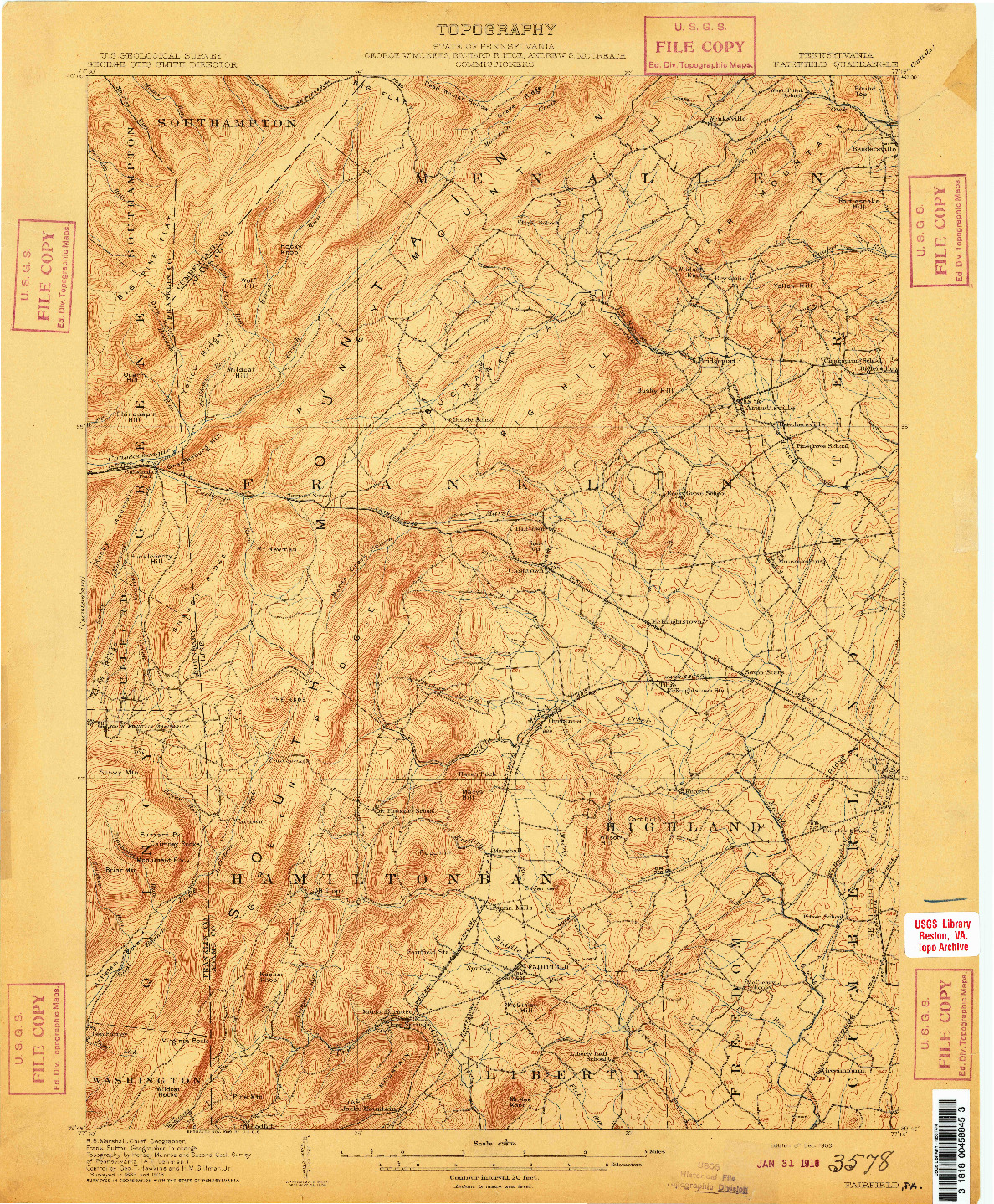 USGS 1:62500-SCALE QUADRANGLE FOR FAIRFIELD, PA 1909