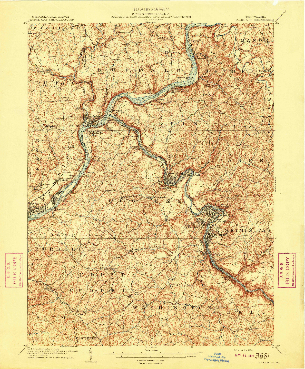 USGS 1:62500-SCALE QUADRANGLE FOR FREEPORT, PA 1909