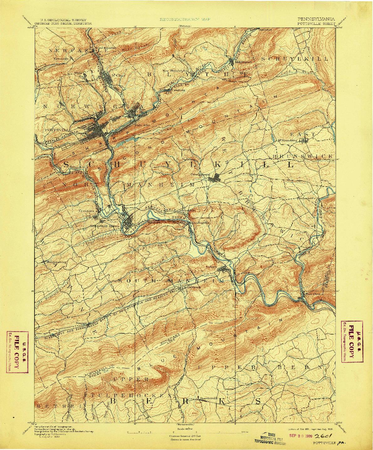 USGS 1:62500-SCALE QUADRANGLE FOR POTTSVILLE, PA 1891