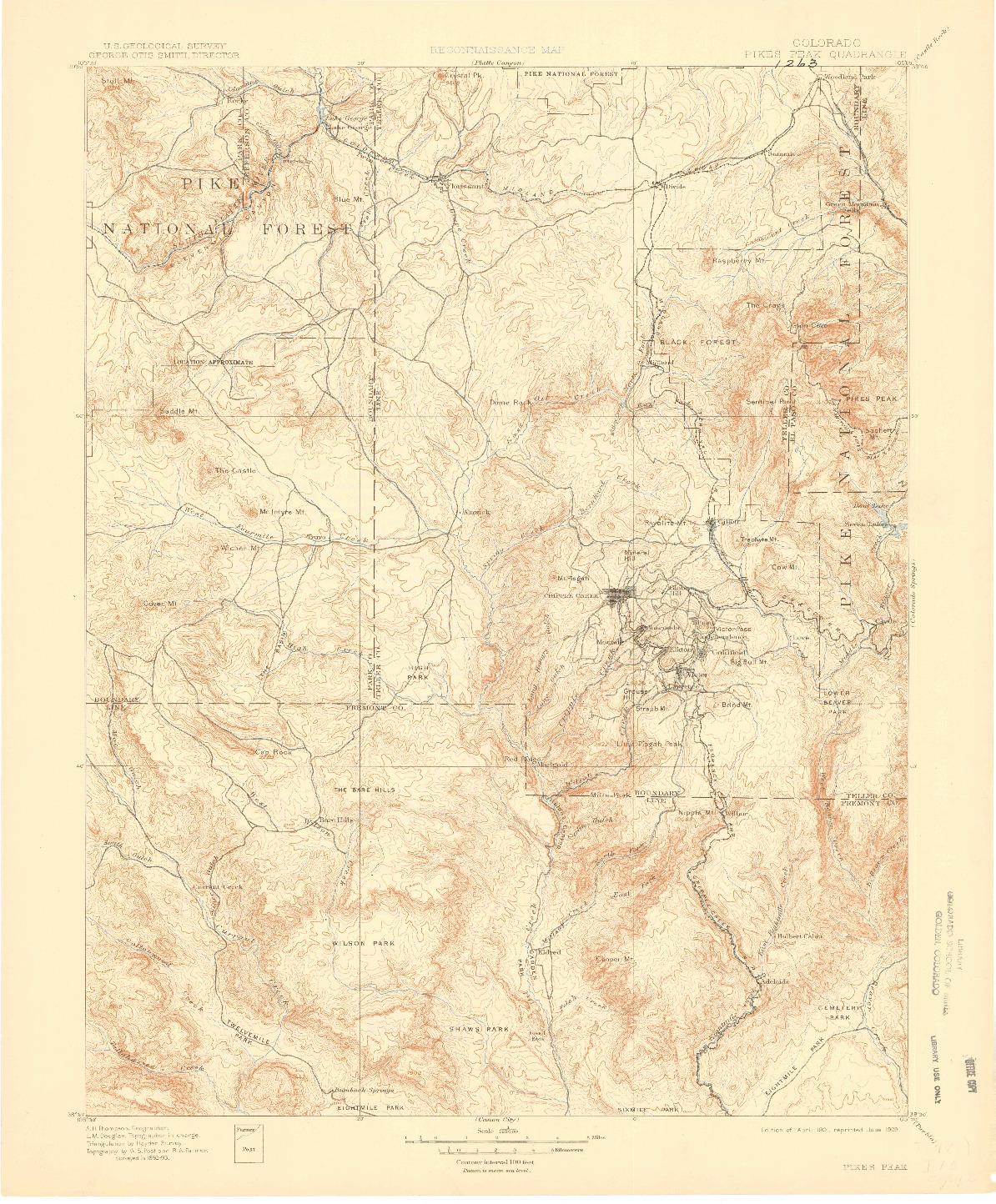 USGS 1:62500-SCALE QUADRANGLE FOR PIKES PEAK, CO 1901