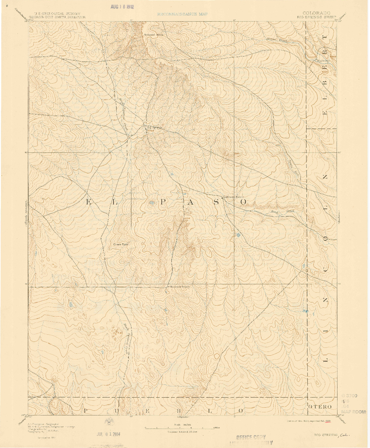 USGS 1:125000-SCALE QUADRANGLE FOR BIG SPRINGS, CO 1893