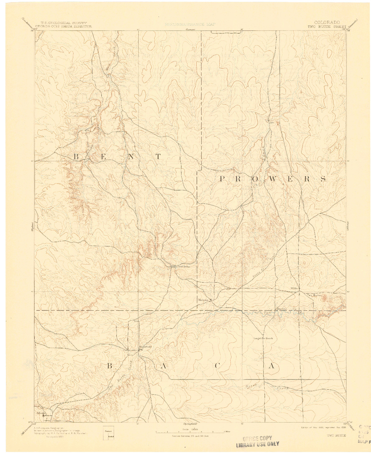 USGS 1:125000-SCALE QUADRANGLE FOR TWO BUTTE, CO 1893