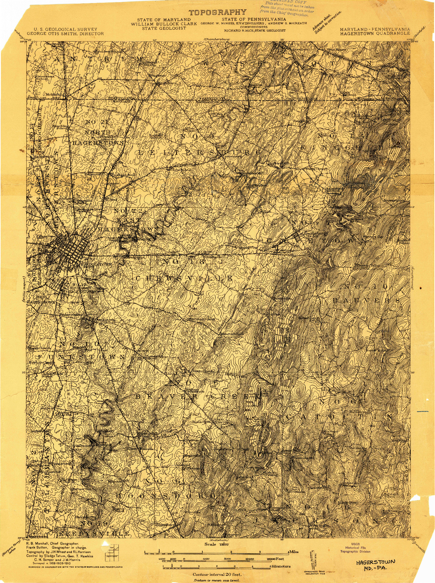 USGS 1:48000-SCALE QUADRANGLE FOR HAGERSTOWN, MD 1909