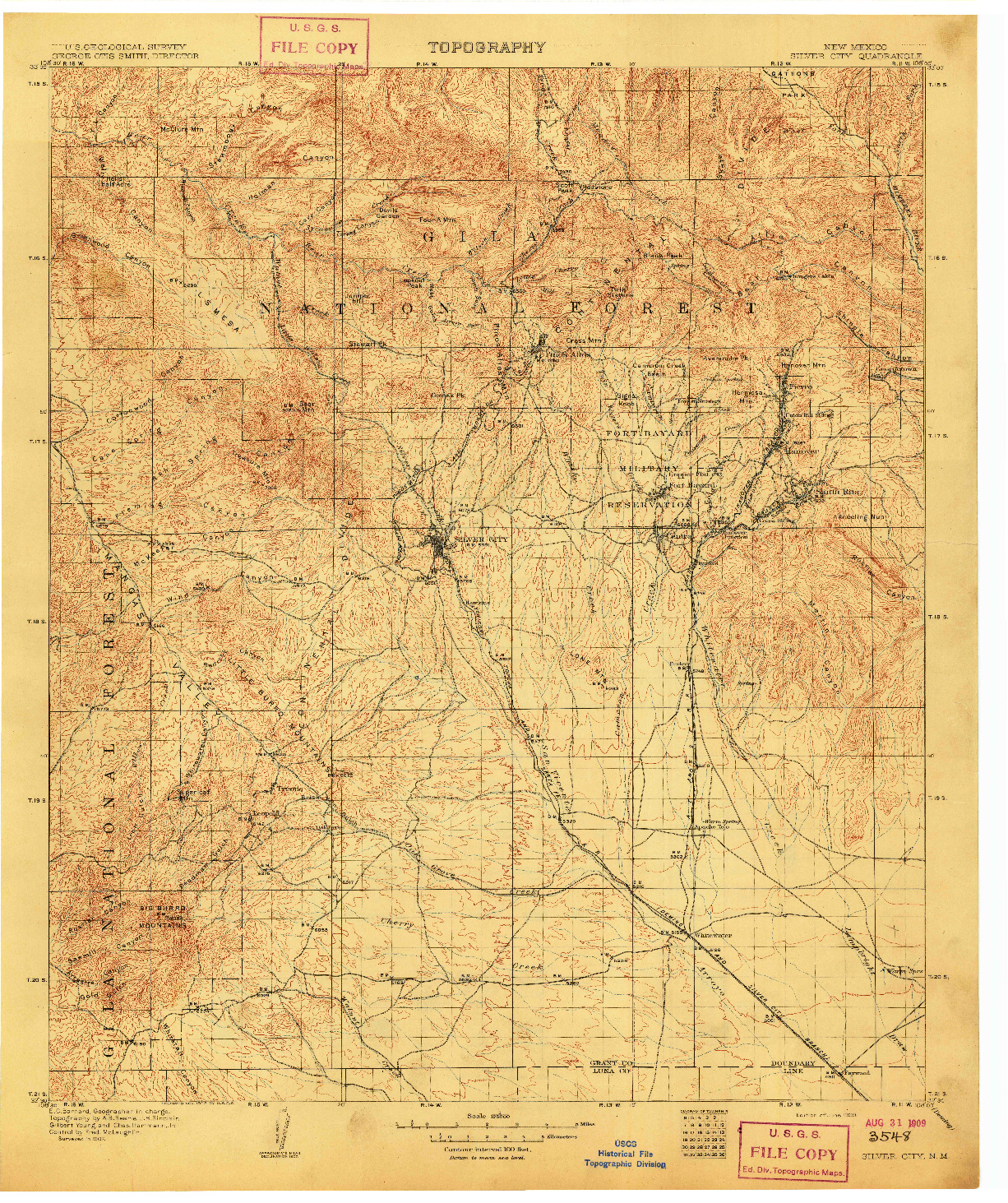 USGS 1:125000-SCALE QUADRANGLE FOR SILVER CITY, NM 1909