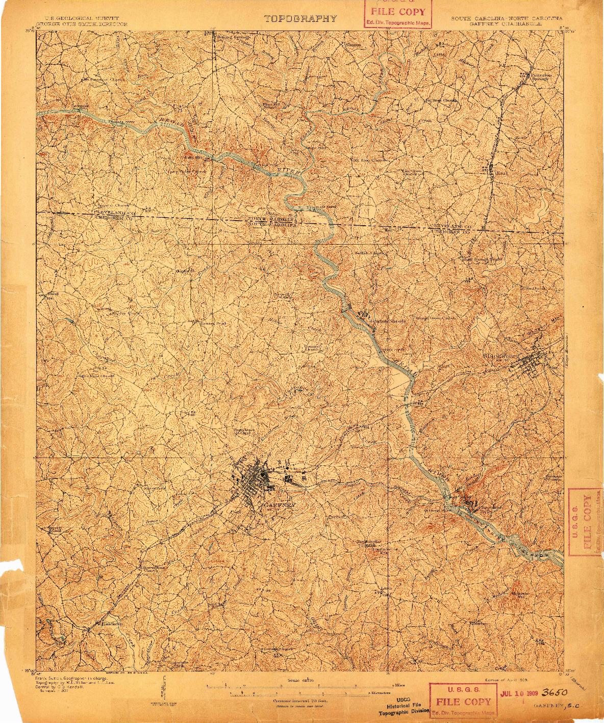 USGS 1:62500-SCALE QUADRANGLE FOR GAFFNEY, SC 1909