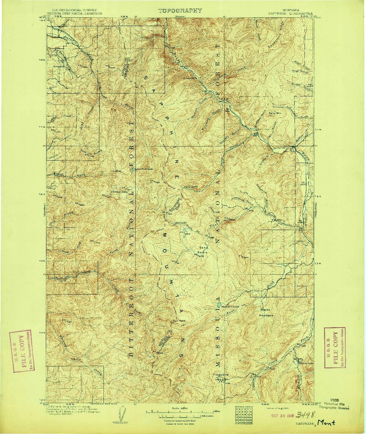 USGS 1:125000-SCALE QUADRANGLE FOR SAPPHIRE, MT 1909