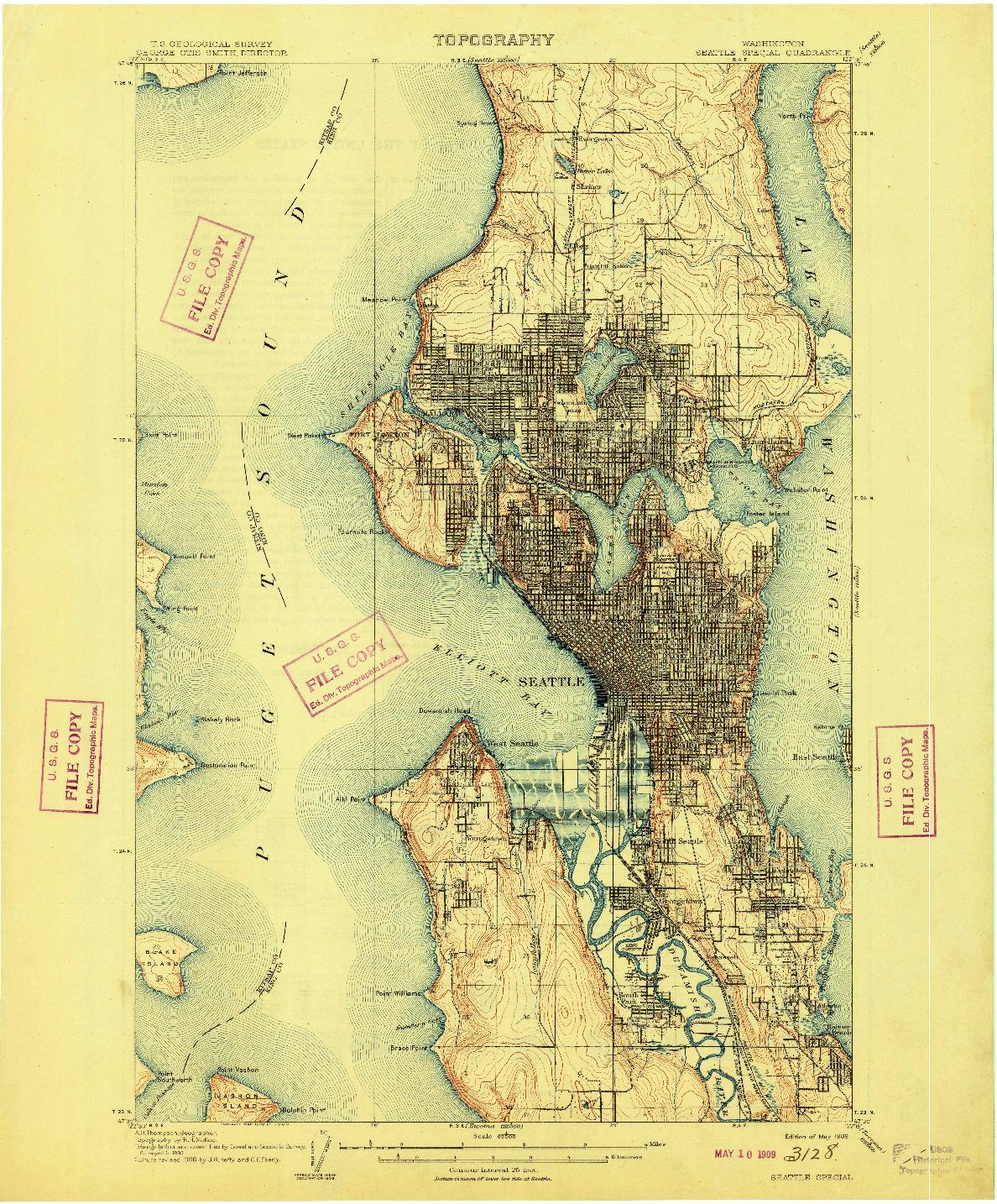 USGS 1:62500-SCALE QUADRANGLE FOR SEATTLE SPECIAL, WA 1909