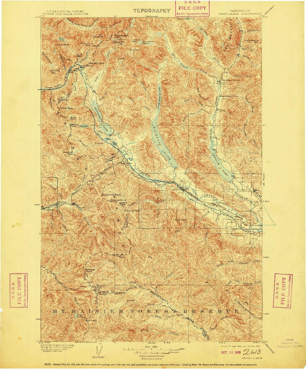 USGS 1:125000-SCALE QUADRANGLE FOR SNOQUALMIE, WA 1903