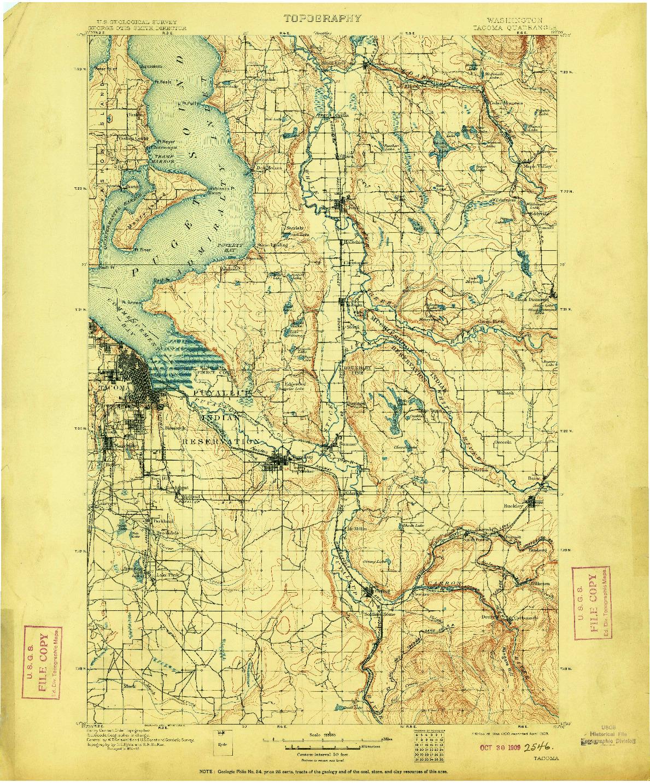 USGS 1:125000-SCALE QUADRANGLE FOR TACOMA, WA 1900
