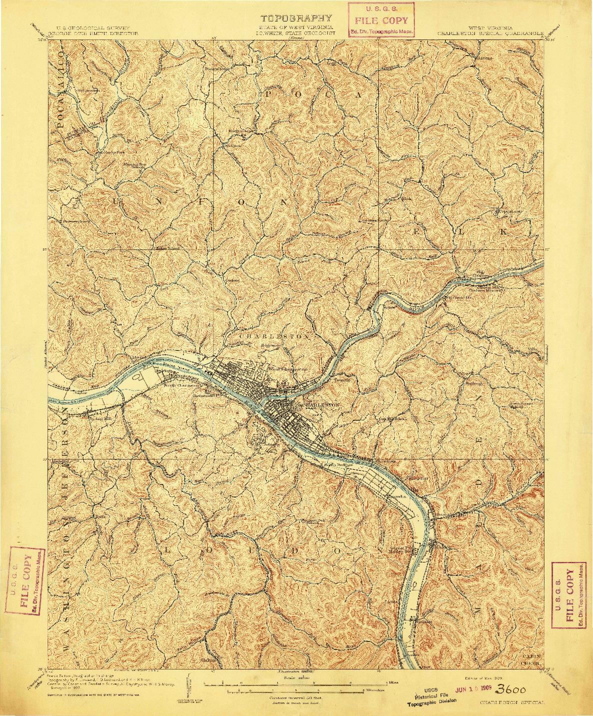 USGS 1:62500-SCALE QUADRANGLE FOR CHARLESTON SPECIAL, WV 1909
