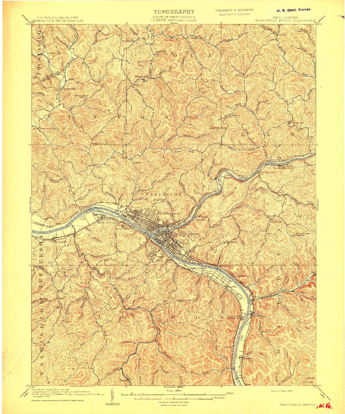USGS 1:62500-SCALE QUADRANGLE FOR CHARLESTON, WV 1909