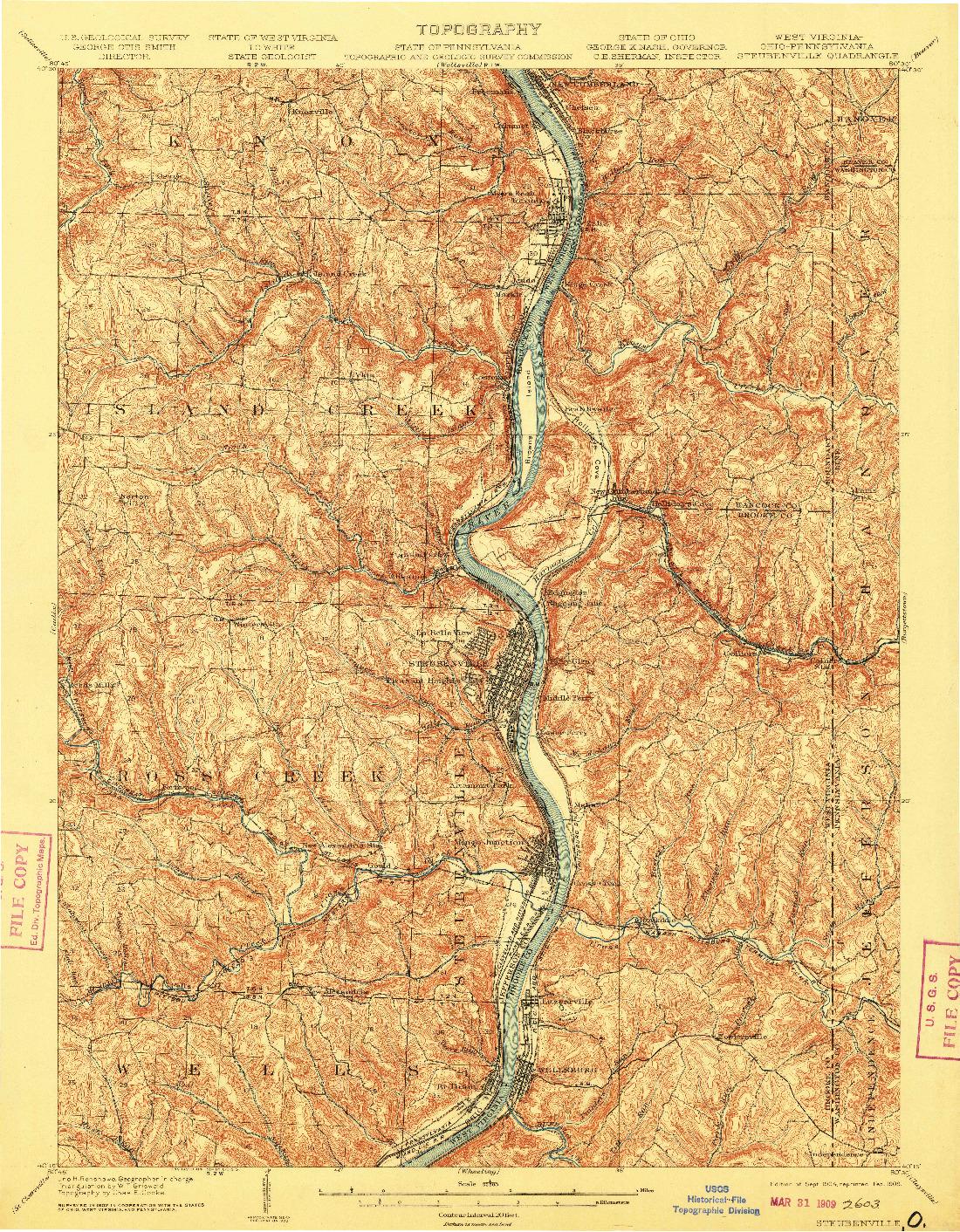 USGS 1:62500-SCALE QUADRANGLE FOR STEUBENVILLE, WV 1904