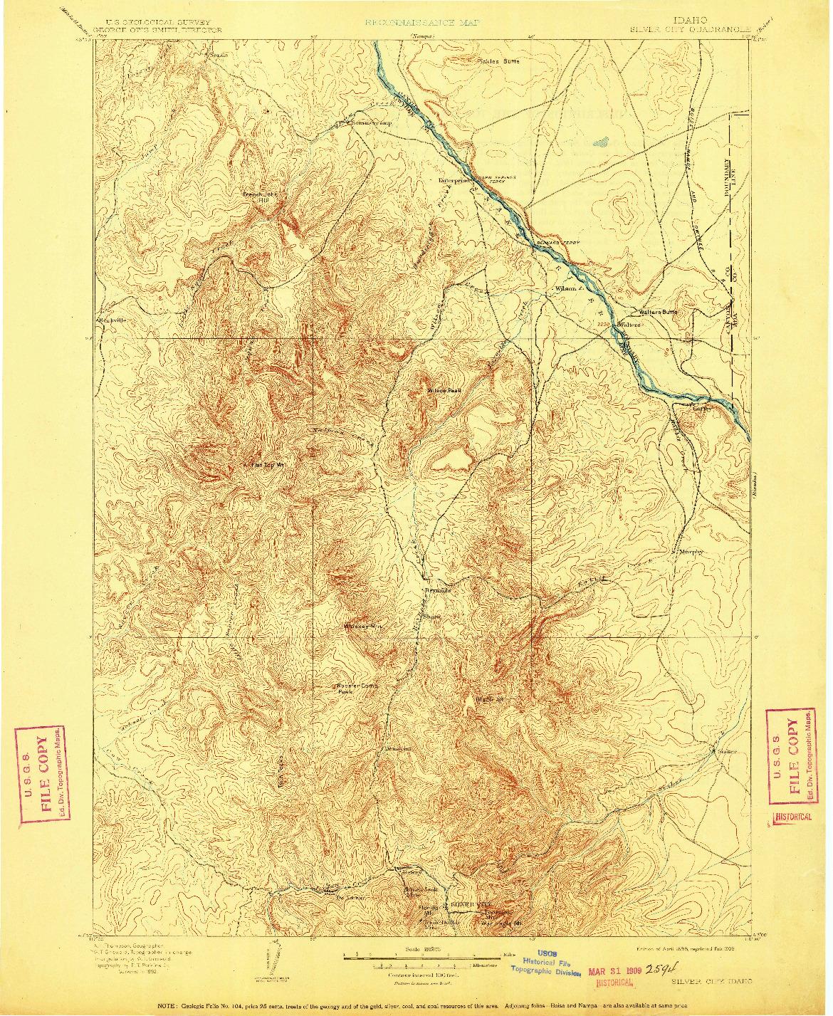 USGS 1:125000-SCALE QUADRANGLE FOR SILVER CITY, ID 1898