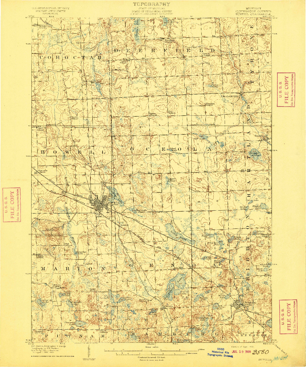 USGS 1:62500-SCALE QUADRANGLE FOR HOWELL, MI 1909