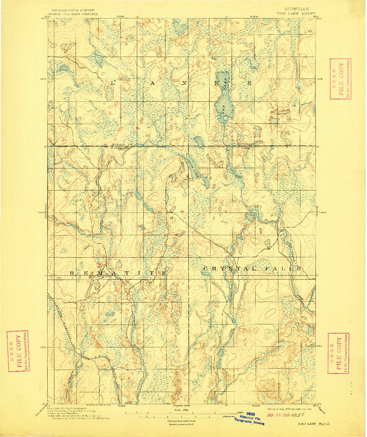 USGS 1:62500-SCALE QUADRANGLE FOR NED LAKE, MI 1895