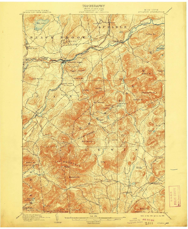 USGS 1:62500-SCALE QUADRANGLE FOR AUSABLE, NY 1903