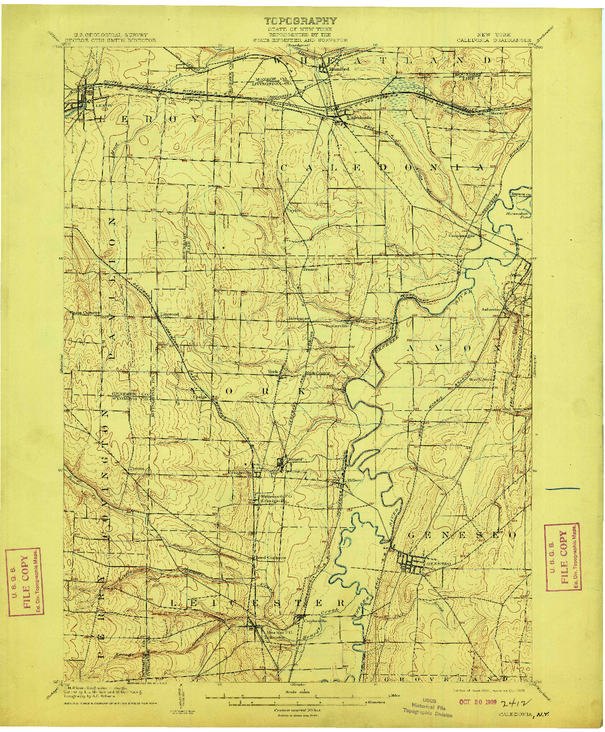 USGS 1:62500-SCALE QUADRANGLE FOR CALEDONIA, NY 1904