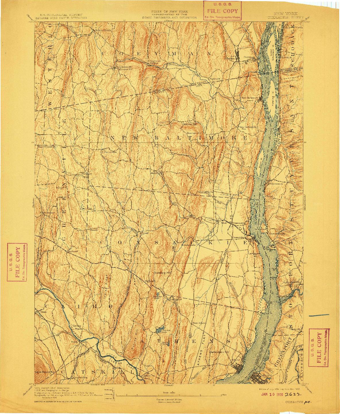 USGS 1:62500-SCALE QUADRANGLE FOR COXSACKIE, NY 1894