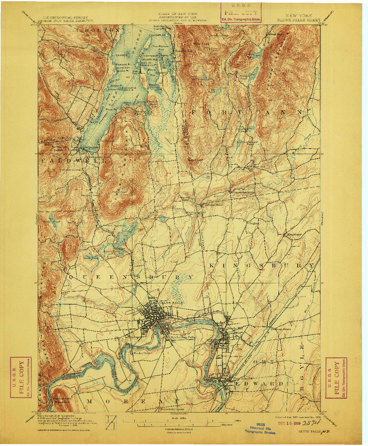 USGS 1:62500-SCALE QUADRANGLE FOR GLENS FALLS, NY 1897