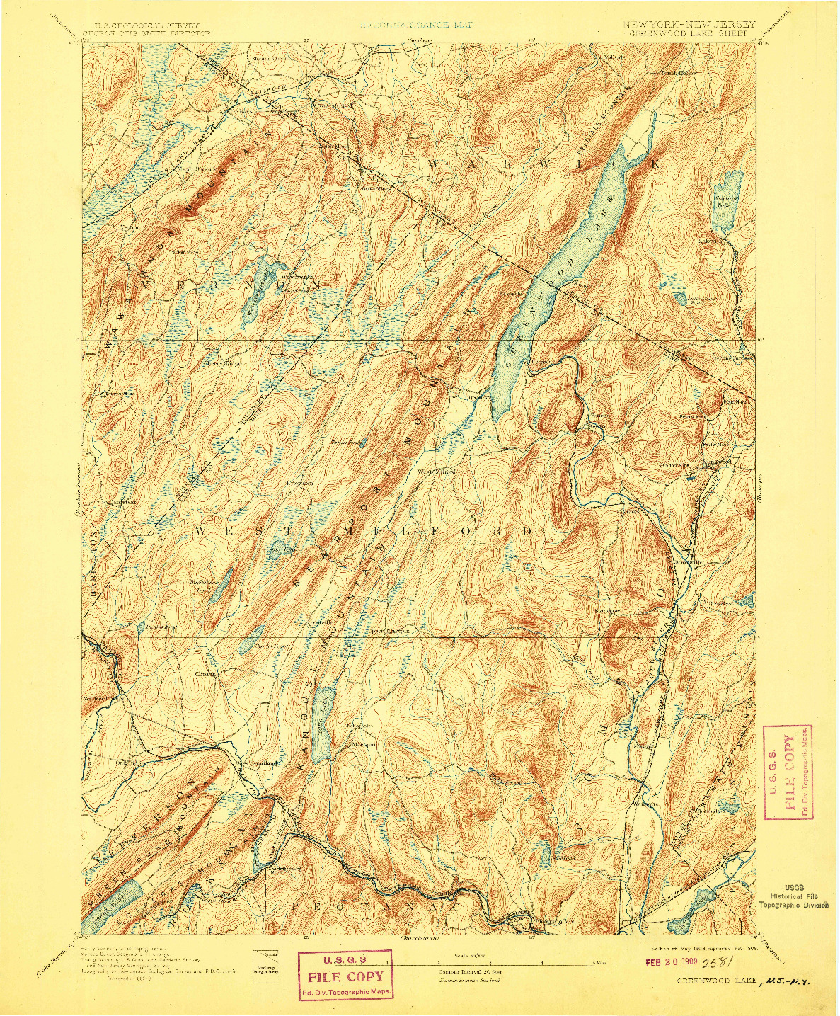 USGS 1:62500-SCALE QUADRANGLE FOR GREENWOOD LAKE, NY 1903
