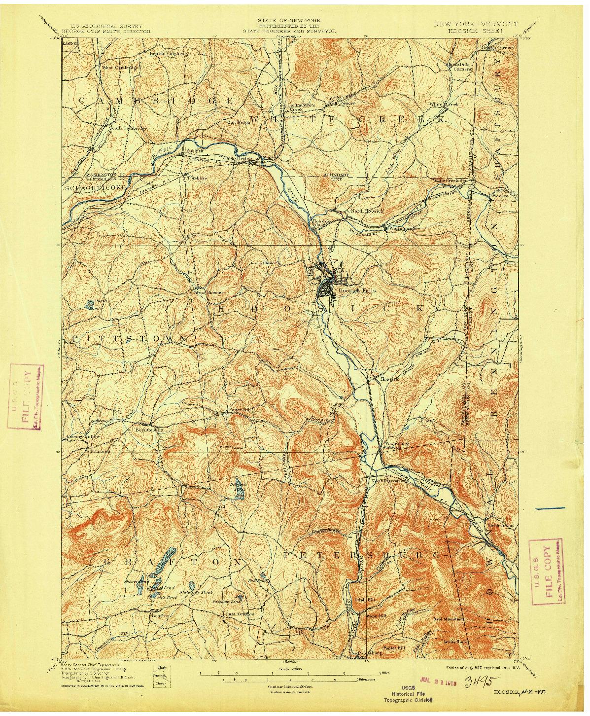 USGS 1:62500-SCALE QUADRANGLE FOR HOOSICK, NY 1897