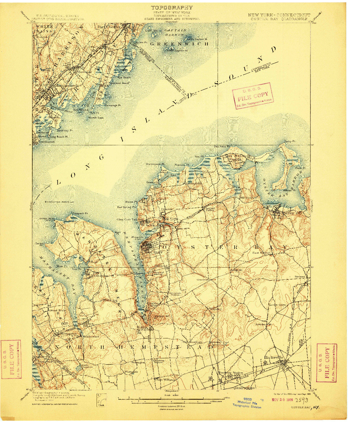 USGS 1:62500-SCALE QUADRANGLE FOR OYSTER BAY, NY 1900