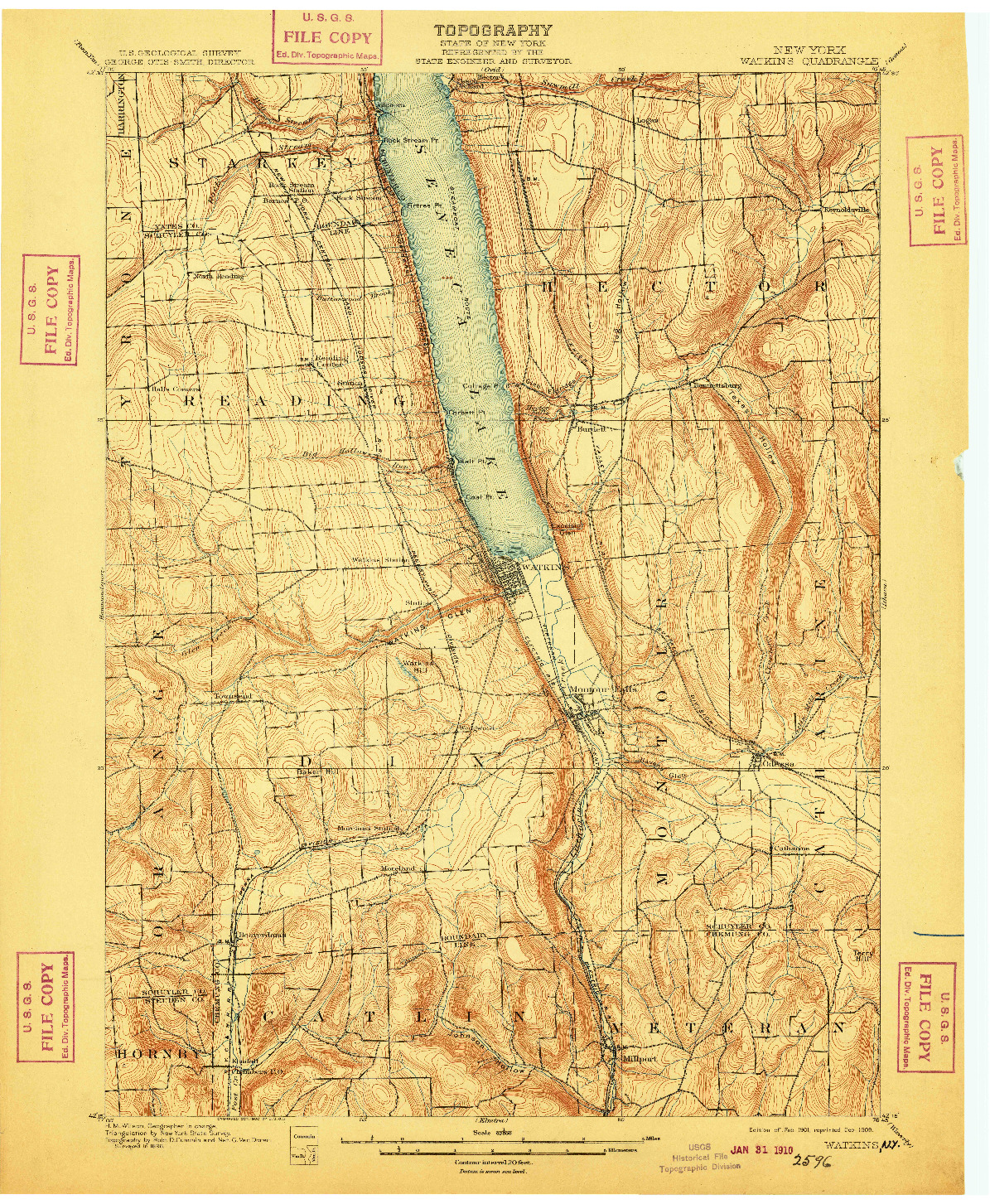 USGS 1:62500-SCALE QUADRANGLE FOR WATKINS, NY 1901