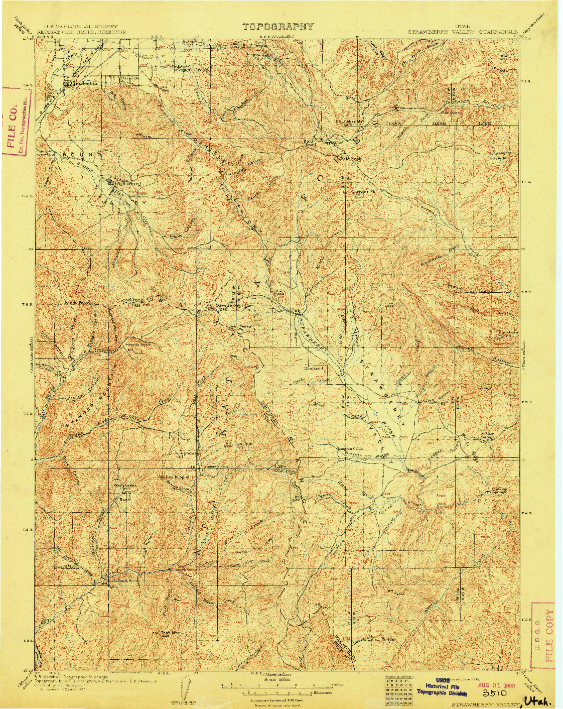 USGS 1:125000-SCALE QUADRANGLE FOR STRAWBERRY VALLEY, UT 1909