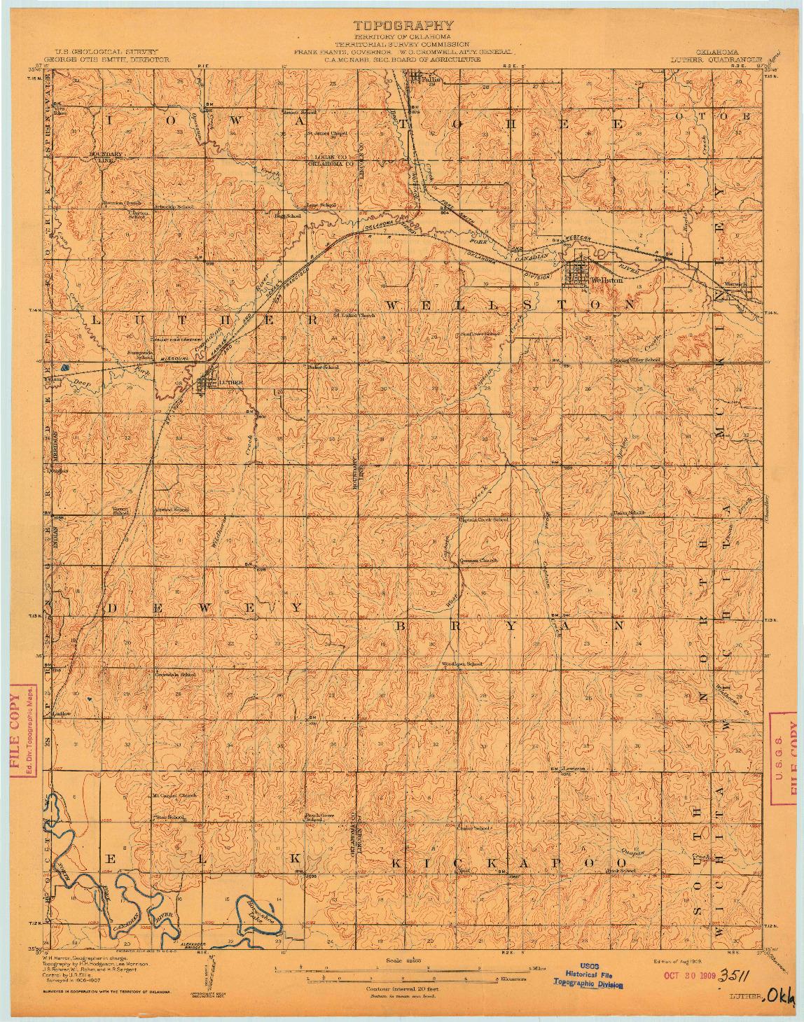 USGS 1:62500-SCALE QUADRANGLE FOR LUTHER, OK 1909