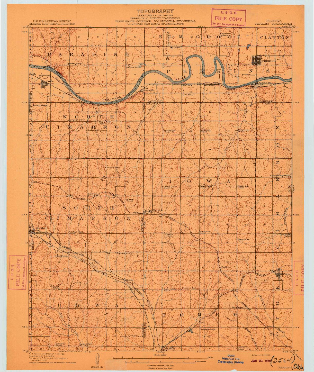 USGS 1:62500-SCALE QUADRANGLE FOR PERKINS, OK 1909