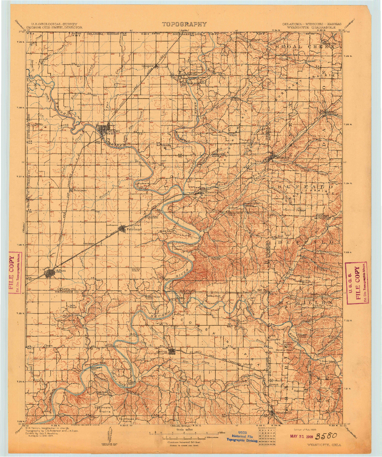USGS 1:125000-SCALE QUADRANGLE FOR WYANDOTTE, OK 1909