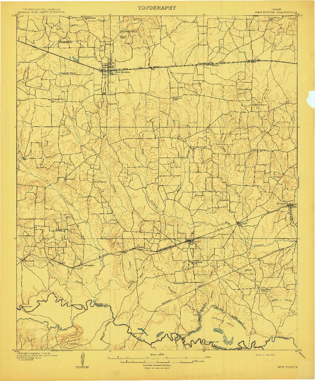 USGS 1:62500-SCALE QUADRANGLE FOR NEW BOSTON, TX 1909