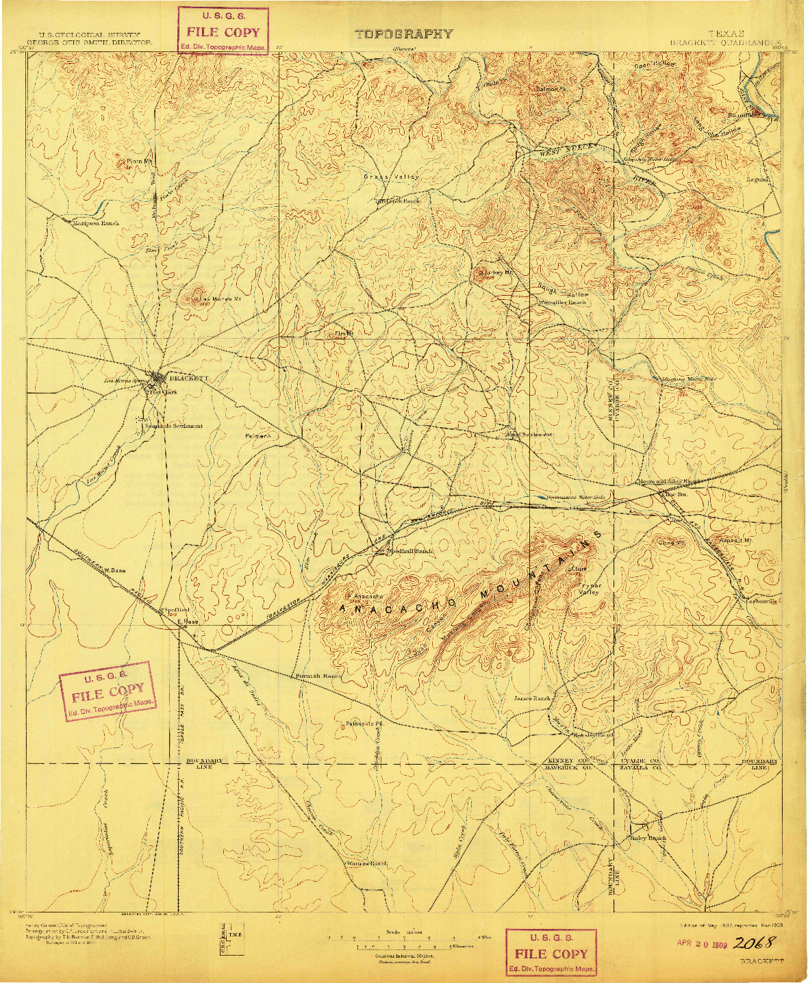 USGS 1:125000-SCALE QUADRANGLE FOR BRACKETT, TX 1897
