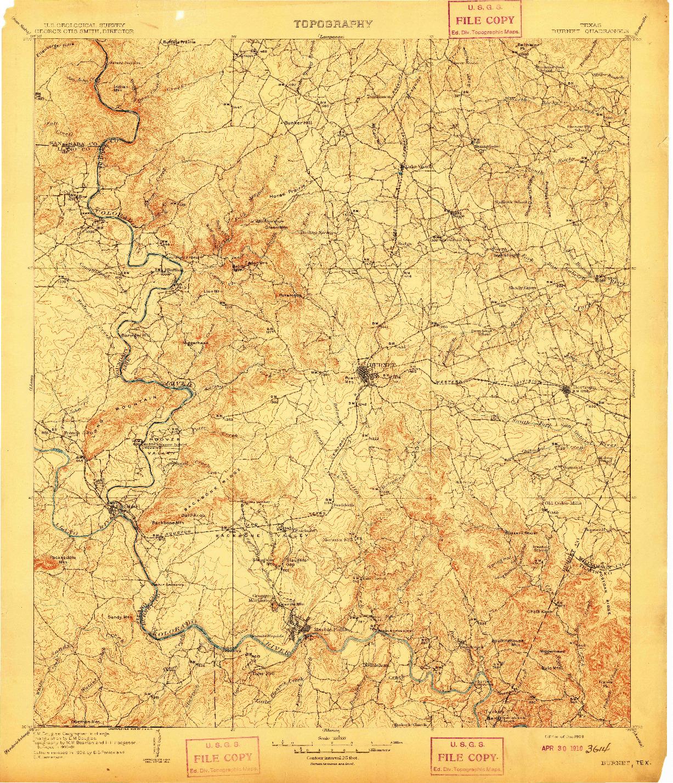 USGS 1:125000-SCALE QUADRANGLE FOR BURNET, TX 1909