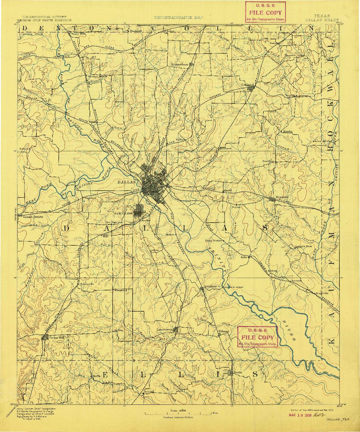 USGS 1:125000-SCALE QUADRANGLE FOR DALLAS, TX 1893