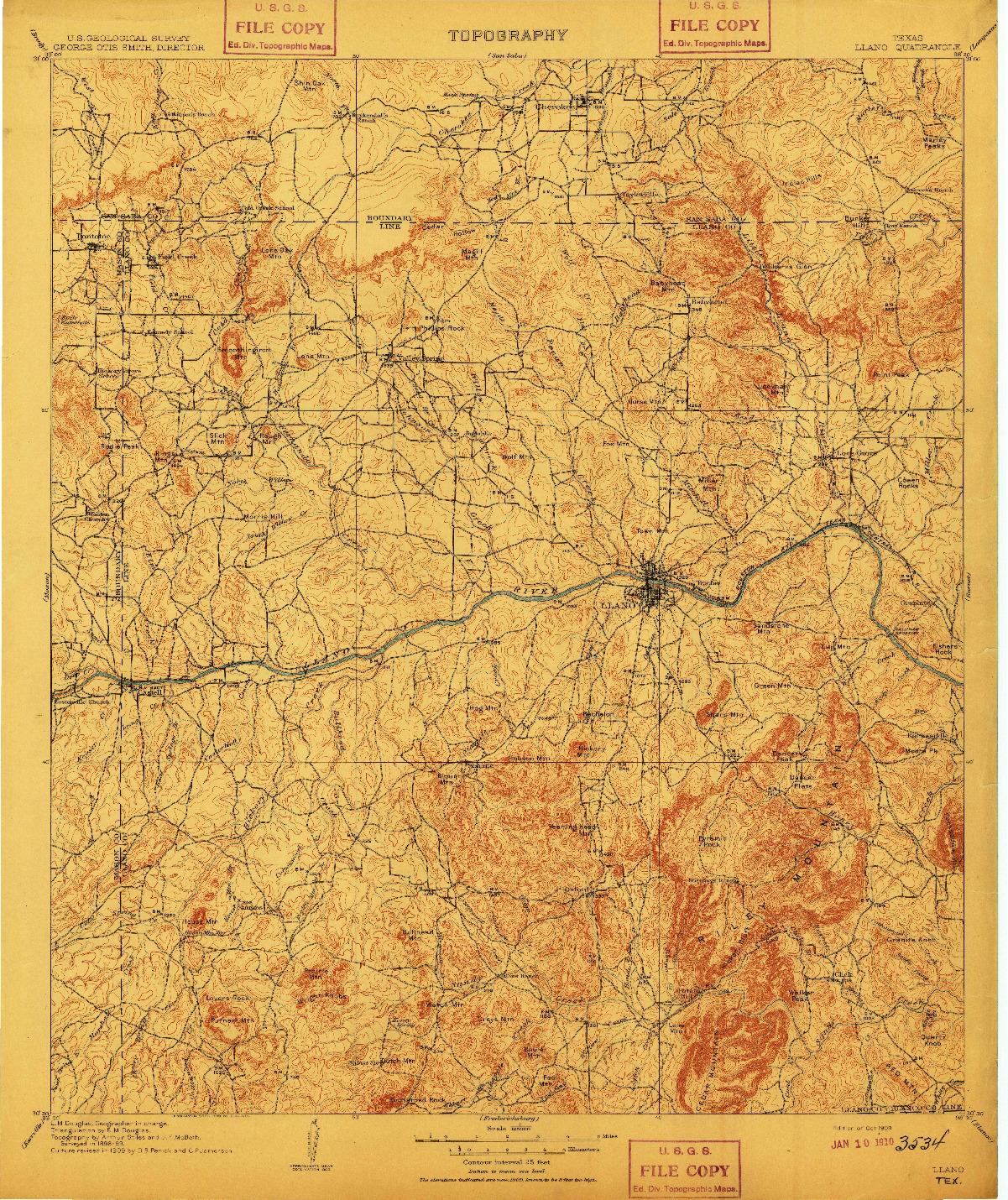 USGS 1:125000-SCALE QUADRANGLE FOR LLANO, TX 1909