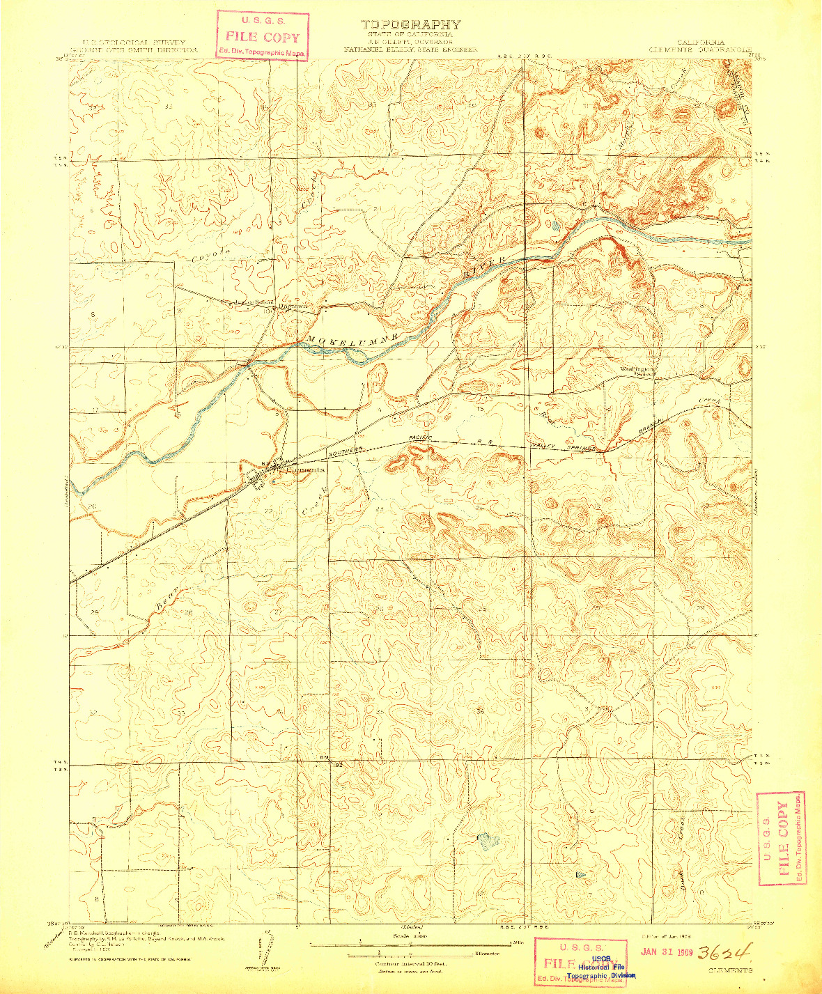 USGS 1:31680-SCALE QUADRANGLE FOR CLEMENTS, CA 1909